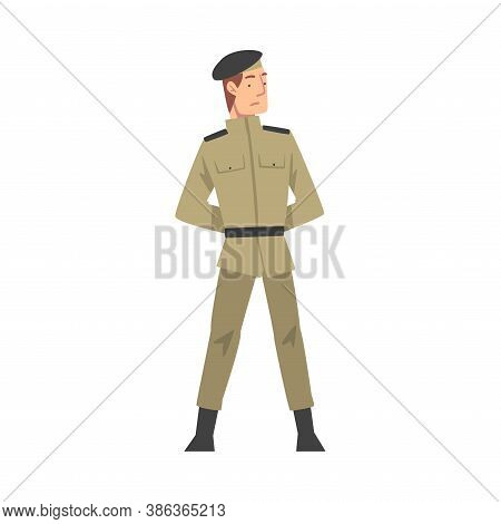 Army Soldier, Infantry Military Man Character In Khaki Uniform Cartoon Style Vector Illustration