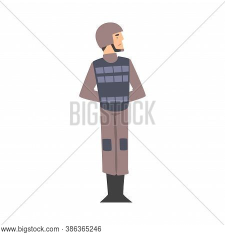Army Soldier, Military Man Character In Combat Uniform, Bulletproof Vest And Helmet Cartoon Style Ve