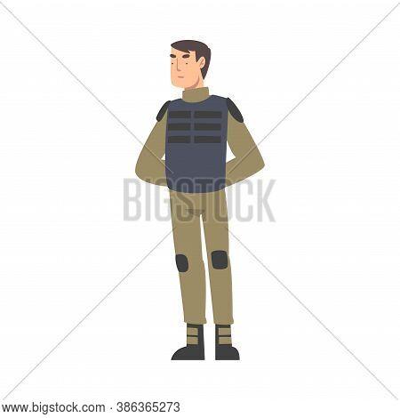Army Soldier, Military Man Character In Knaki Uniform And Bulletproof Vest Cartoon Style Vector Illu