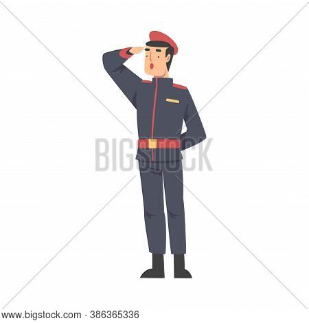 Army Soldier Saluting, Military Man Character In Blue Uniform Cartoon Style Vector Illustration