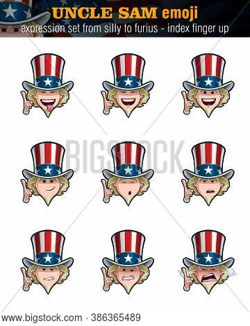 Vector Illustrations Set Cartoon Uncle Sam Emoji Pointing Up. Nine Expressions, Silly, Laughing, Hap