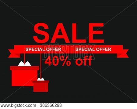 Sale 40% Off. Black Friday Special Offer. Hanging Gift Boxes With Bows And Ribbon O Black Background