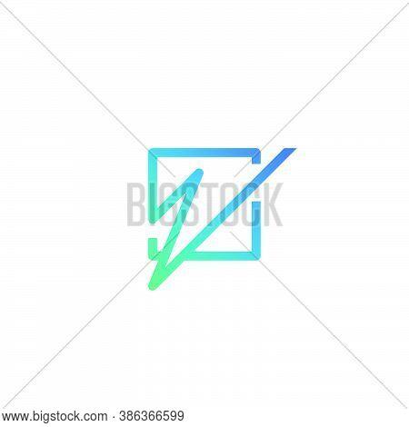Line Art Letter Z Logo Inside Square Shape