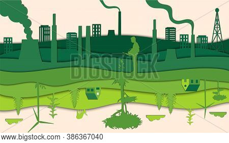 Ecology And Environment Conservation, Renewable, Alternative Energy, Green Electricity Concept. Poll