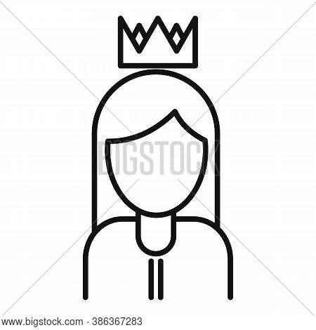Queen Reputation Icon. Outline Queen Reputation Vector Icon For Web Design Isolated On White Backgro
