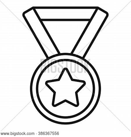 Gold Medal Reputation Icon. Outline Gold Medal Reputation Vector Icon For Web Design Isolated On Whi