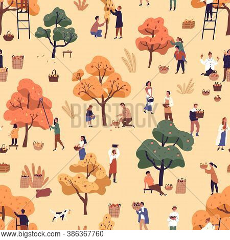 Happy People Picking Fruits Seamless Pattern. Smiling Man, Woman And Children Gathering Apples In Ga