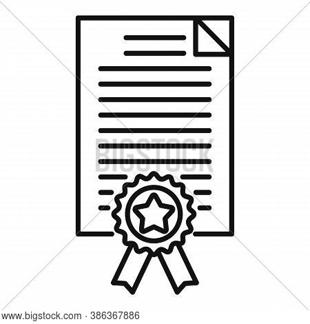 Diploma Reputation Icon. Outline Diploma Reputation Vector Icon For Web Design Isolated On White Bac