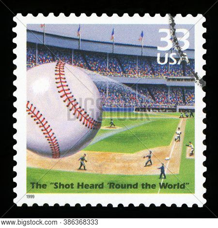 United States Of America, Circa 1999: A Postage Stamp Printed In Usa Showing An Image The Shot Heard