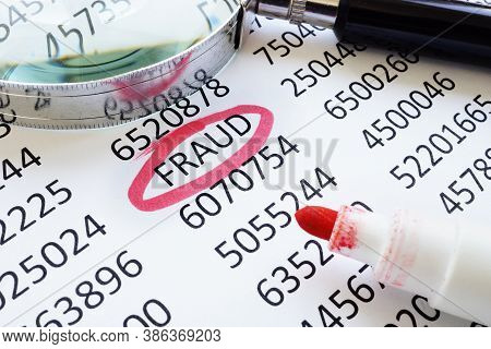 Fraud Underlined Word And Financial Data For Business Audit.
