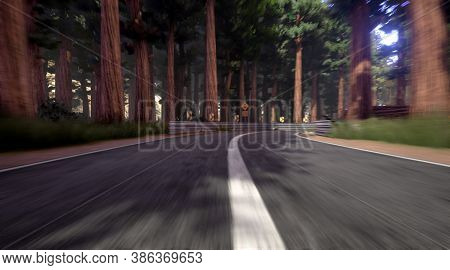 Closeup Of Empty And Curvy Road In Autumn Green Forest With So Many Tall Trees, Forest Landscape, 3d