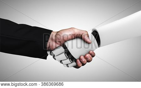 3d Rendering Humanoid Robot Handshake To Collaborate Future Technology Development By Ai Thinking Br