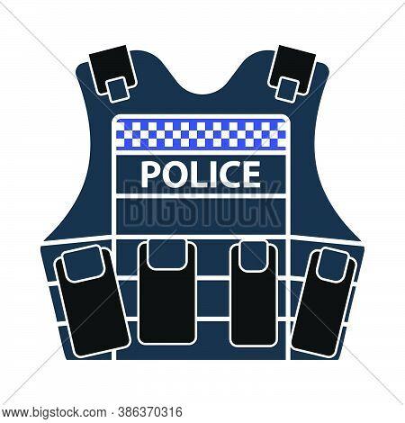 Police Vest Icon. Flat Color Design. Vector Illustration.