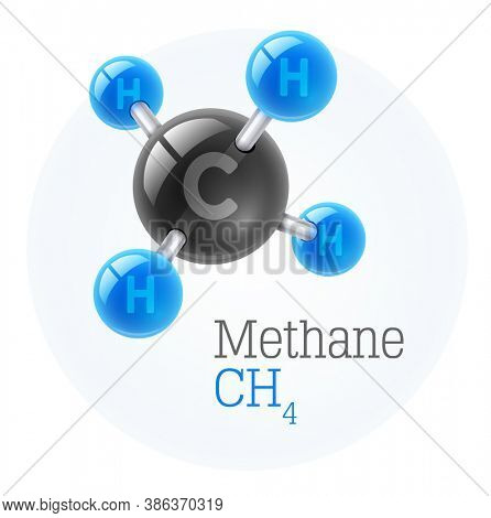 Physical chemical molecule model of gas methane, assembly of carbon and hydrogen. Combustible gaseous fuel for obtaining energy. Science, isolated on white background. 3D illustration.