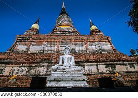 Buddha Images And Pagodas At Wat Yai Chai Mongkhon, Phra Nakhon Si Ayutthaya Province, Thailand