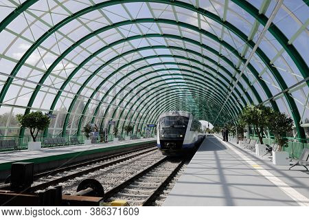 Otopeni, Romania - September 21, 2020: Details From The Newly Built Train Station At The Henri Coand