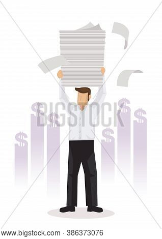 Businessman Holding A Lot Of Documents Earning Lots Of Money For His Company. Business Concept Vecto