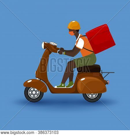 Young African Guy In Protective Face Mask With Box For Food Delivery Rides A Scooter, Brown Vintage