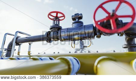 Gas tap with pipeline system at natural gas station. Industry, 3D illustration