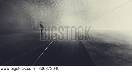 Businessman standing in front of precipice or a gap thinking to get on the other side. Concept of challenge, overcome a problem, taking a risk. 3D illustration