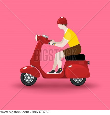 Young Guy Rides A Scooter, Red Vintage Scooter With Man Isolated On Pink Background, Vector Illustra
