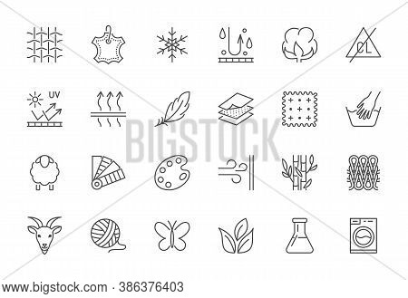 Fabric Feature Flat Line Icons Set. Clothes Symbols Silk, Cotton, Breathable, Waterproof Material, H
