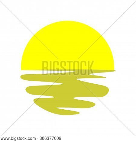 Summer Sun Sign. Sunny Weather Forecast Icon. Sunset With Waves. Yellow Circles Pattern. Classic Sun