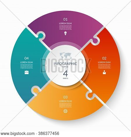 Puzzle Infographic Circle With 4 Steps, Options, Pieces. Four-part Cycle Chart.