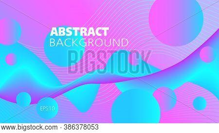 Bright Cyan, Purple Fluid On A Blue, Magenta Background. Flowing Liquid Illusion. Abstract Wave Patt