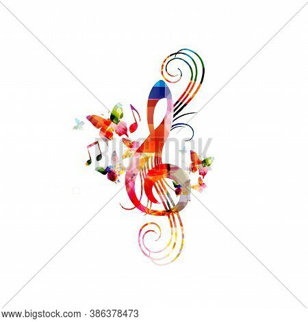 Colorful Music Promotional Poster With G-clef Isolated Vector Illustration. Artistic Abstract Backgr