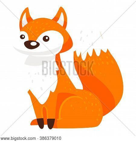 Baby Fox Character With Furry Tail, Wild Animal