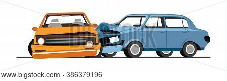 Traffic Collision Of Cars, Road Accident Of Vehicles
