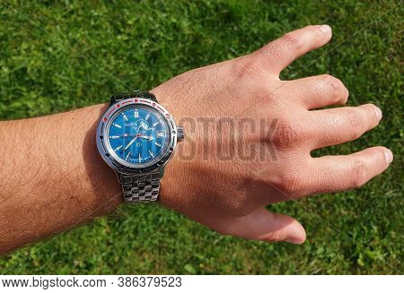 Cluj/romania - September 19, 2020 - Illustrative Editorial: Vintage Vostok Russian Automatic Underwa