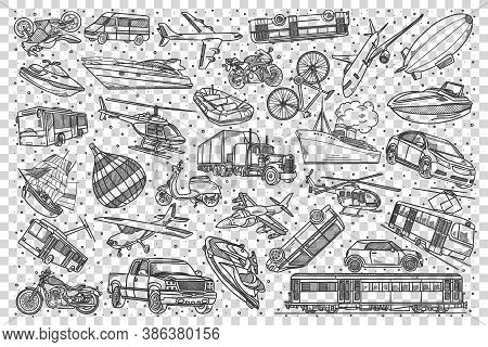 Transport Doodle Set. Collection Of Hand Drawn Pattern Templates Sketches Of Vehicles Cars Automobil