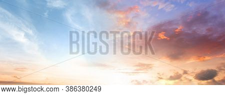 Amazing Panorama  Colorful Sky And Dramatic Sunset