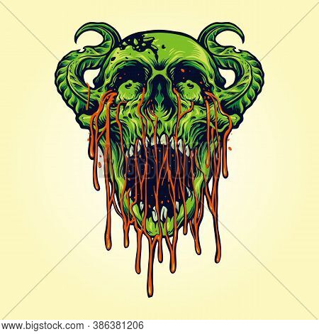 Demon Devil Zombie Skull Blood Illustrations For Clothing Merchandise Apparel And Sticker