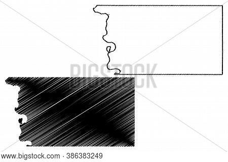 Pottawattamie County, Iowa (u.s. County, United States Of America, Usa, U.s., Us) Map Vector Illustr