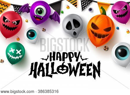 Happy Halloween Background Vector Banner Design. Happy Halloween Text With Colorful Balloons Element