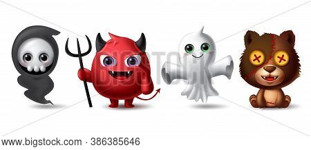 Halloween Characters Vector Set. Halloween Horror Scary Character Like Grim Reaper, Demon, Ghost And