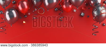Black Friday Sale Background Decoration With Flying Balloon, Confetti On Red, Copy Space Text, Templ