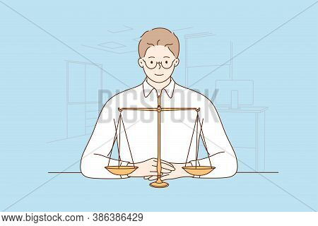 Law, Justice, Notary, Work Concept. Young Happy Smiling Man Guy Clerk Manager Lawyer Attorney Judge