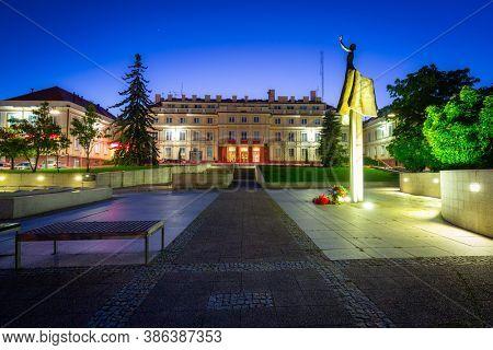 Pruszcz Gdanski, Poland - September 20, 2020: Sculpture at the starosty building in Pruszcz Gdanski at night, Poland.