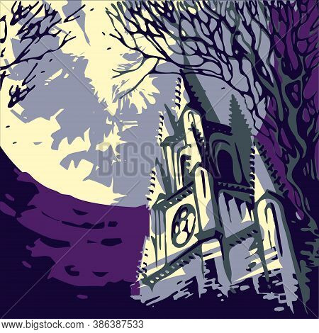Temple With A Spire Against The Backdrop Of A Huge Full Moon. Halloween Landscape In Retro Style. Vi