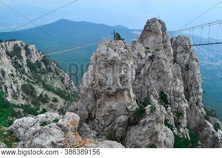 Aerial View Of Rock With A Rope Bridge On The Mount Ai-petri In Crimea, Russia.  Highest Mountains I
