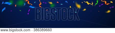 Streamers And Confetti. Colorful Streamers Tinsel And Foil Ribbons. Confetti Gradient On Dark Blue B