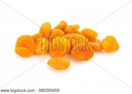 Preserved fruit. Group of dried sulfurized apricots  isolated on white background.