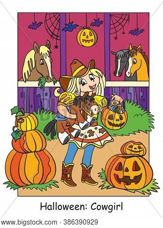 Vector Colorful Illustration Cute Girl In Costume Of Cowgirl In The Stable. Halloween Concept. Carto