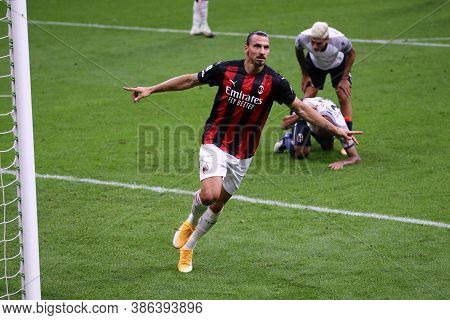 Milano, Italy. 21th September 2020. Italian Serie A. Zlatan Ibrahimovic  Of Ac Milan   Celebrate Aft