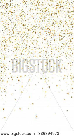 Gold Stars Luxury Sparkling Confetti. Scattered Small Gold Particles On White Background. Enchanting
