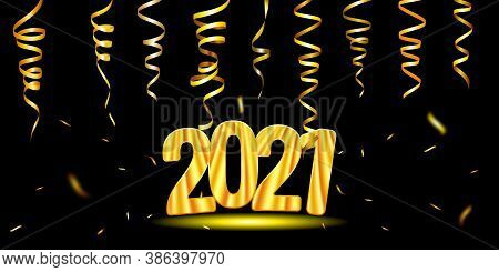 Happy New Year 2021 Greeting Card. Golden Numbers 2021 And Ribbons Of Serpentine. Vector Eps10